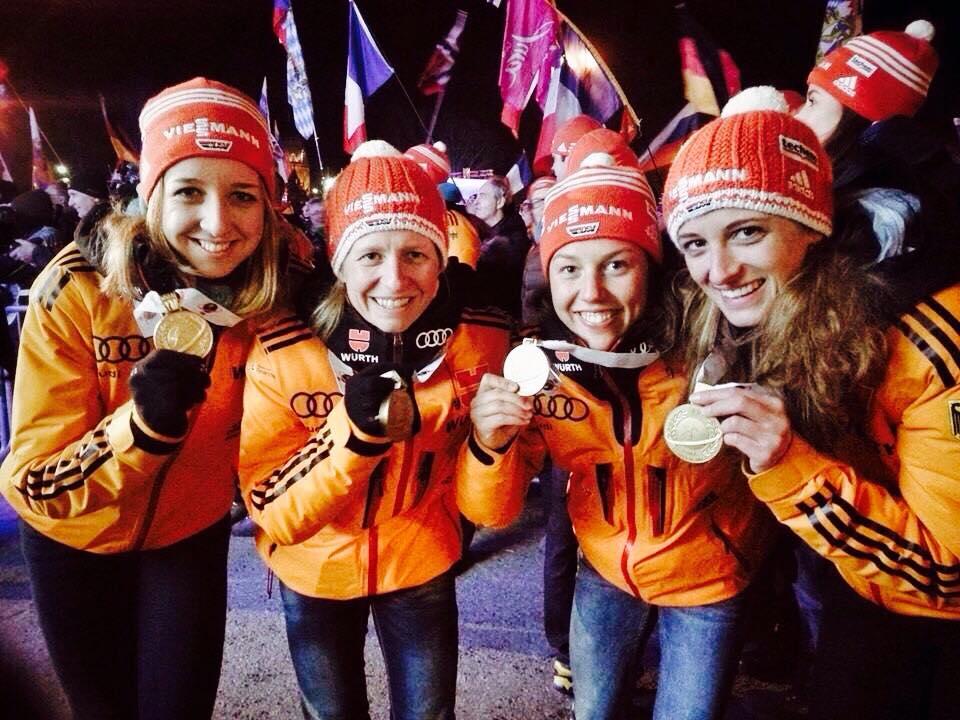 Erfolge: Weltmeisterschaft Kontiolahti - Goldmedaille Damen-Staffel